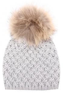 Шерстяная шапка фактурной вязки с меховым помпоном Artiminesi