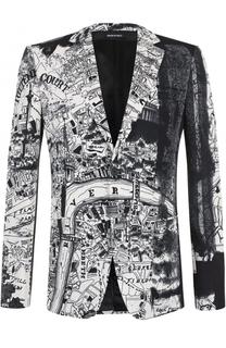 Шерстяной однобортный пиджак с принтом Alexander McQueen