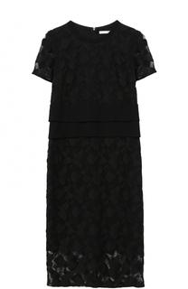 Кружевное платье-миди с круглым вырезом BOSS