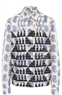 Хлопковая блуза с планкой и принтом Dries Van Noten