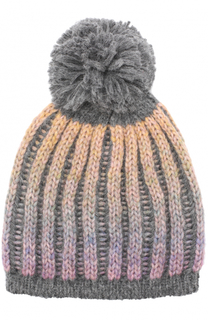 Шерстяная шапка фактурной вязки с помпоном Artiminesi