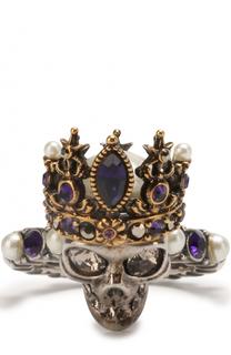 Кольцо с черепом с кристаллами Swarovski и жемчужинами Alexander McQueen