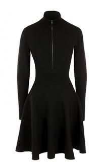 Мини-платье с длинным рукавом и воротником-стойкой Alaia