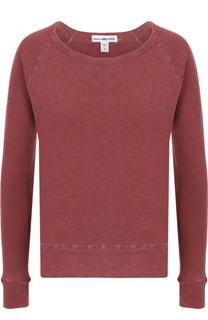 Хлопковый пуловер прямого кроя с круглым вырезом James Perse
