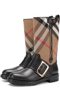 Кожаные сапоги с текстильной вставкой Burberry