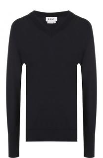 Вязаный пуловер с V-образным вырезом DKNY