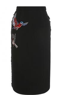 Шерстяная юбка-миди с вышивкой Markus Lupfer