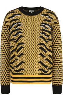 Шерстяной пуловер с круглым вырезом и принтом Kenzo