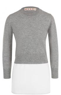 Вязаный пуловер с хлопковой вставкой Marni