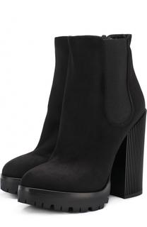 Замшевые ботильоны на устойчивом каблуке и платформе Dolce & Gabbana