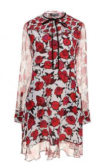 Шелковое мини-платье с цветочным принтом Markus Lupfer