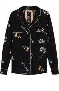 Кружевная блуза в пижамном стиле в вышивкой No. 21