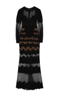 Приталенное кружевное платье-макси Elie Saab