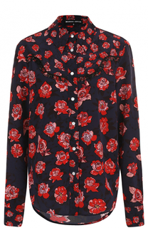 Шелковая блуза свободного кроя с принтом Markus Lupfer