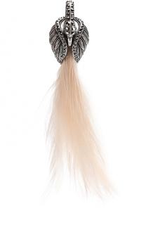 Серьга-клипса с отделкой из страз и перьев Lanvin