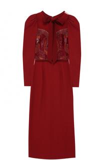 Приталенное платье-миди с рукавом-фонарик Elie Saab