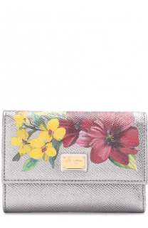 Портмоне из металлизированной кожи с цветочным принтом Dolce & Gabbana