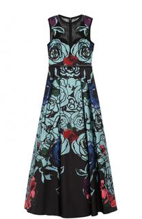 Приталенное платье-макси с цветочным принтом Elie Saab