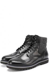 Высокие кожаные ботинки на шнуровке с брогированием W.Gibbs