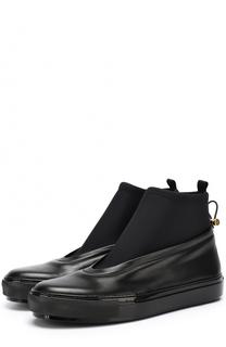 Кожаные ботинки с текстильной вставкой Marni