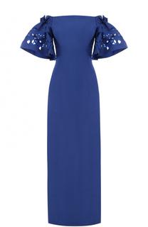 Шелковое платье с расклешенными рукавами и открытыми плечами Oscar de la Renta