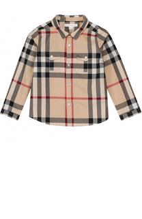 Хлопковая рубашка с принтом и накладными карманами Burberry