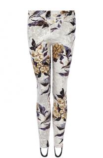 Бархатные брюки с принтом и штрипками Mm6