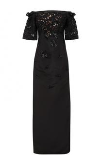 Шелковое платье-макси с открытыми плечами Oscar de la Renta