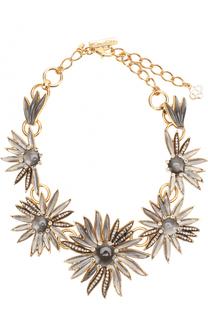 Колье с цветочным декором с кристаллами Swarovski Oscar de la Renta