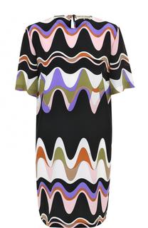 Шелковое мини-платье с принтом Emilio Pucci