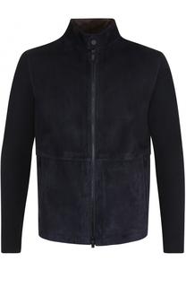 Шерстяная куртка на молнии с замшевой отделкой Z Zegna