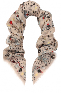 Платок из шелка и вискозы с принтом Alexander McQueen
