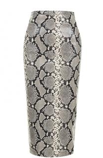 Кожаная юбка-карандаш Rochas