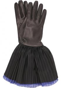 Кожаные перчатки с шелковой плиссированной отделкой Giorgio Armani