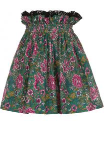 Хлопковая мини-юбка с принтом No. 21