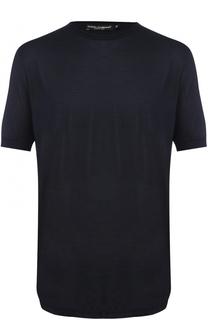 Шелковая футболка с круглым вырезом Dolce & Gabbana
