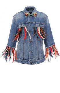 Джинсовая куртка перьевой отделкой Dolce & Gabbana
