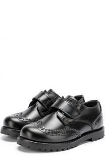 Кожаные дерби с брогированием и застежками велькро Dolce & Gabbana