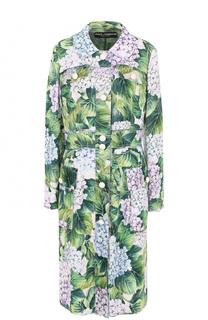 Однобортное пальто прямого кроя с цветочным принтом Dolce & Gabbana