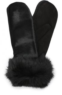 Замшевые варежки с меховой отделкой Sermoneta Gloves