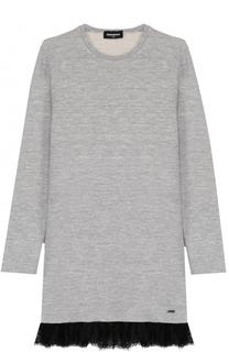 Хлопковое мини-платье прямого кроя с кружевной отделкой Dsquared2