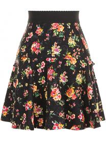 Мини-юбка с оборками и цветочным принтом Dolce & Gabbana