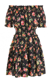 Приталенное платье-мини с цветочным принтом Dolce & Gabbana
