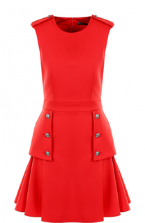 Шерстяное мини-платье с оборками Alexander McQueen
