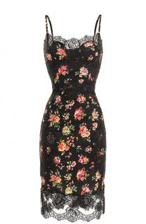 Шелковое платье-миди с кружевной отделкой и принтом Dolce & Gabbana