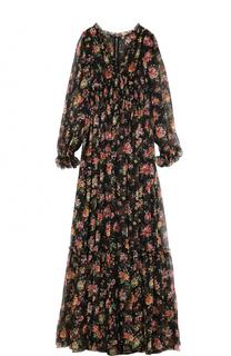 Шелковое платье-макси с цветочным принтом Dolce & Gabbana