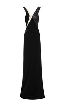 Платье-макси с вышивкой пайетками Lanvin