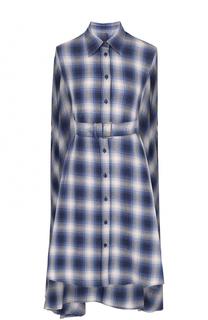 Хлопковая блуза ассиметричного кроя с поясом Mm6