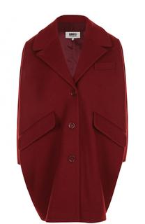 Шерстяное однобортное пальто прямого кроя Mm6