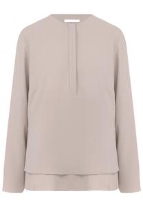 Блуза прямого кроя с плиссированной вставкой BOSS